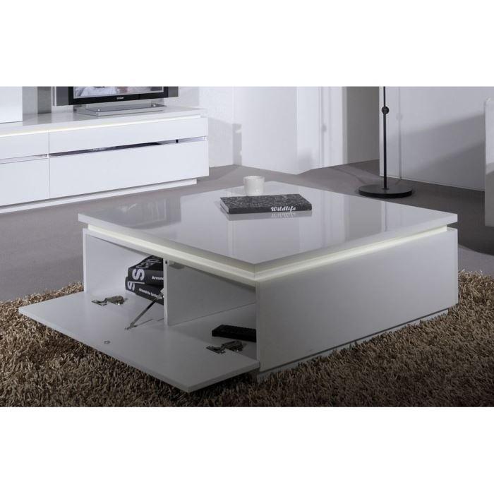 buzz table basse avec clairage laqu e blanc aucune. Black Bedroom Furniture Sets. Home Design Ideas