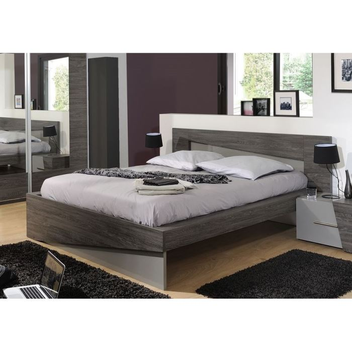 modane lit 160x200 cm bois laqu gris l203 cm aucune pickture. Black Bedroom Furniture Sets. Home Design Ideas