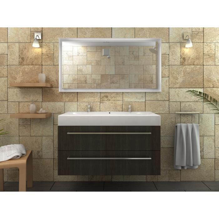 Mona double vasque bois wenge luisiana 100cm aucune for Salle de bain wenge
