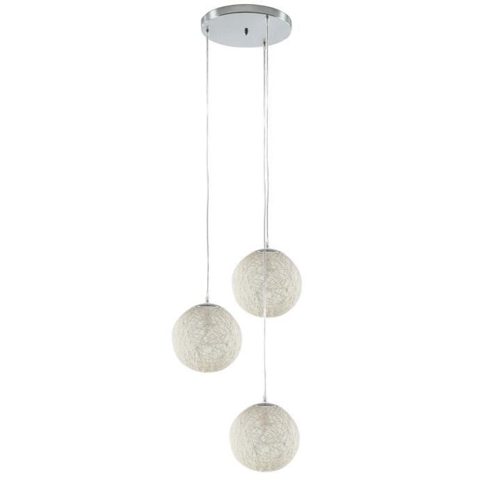Baya suspension 3 boules rotin diam 20 h 105 aucune for Suspension 3 boules japonaises