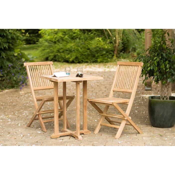 Table carr e en teck et 2 chaises aucune pickture for Table et 2 chaises