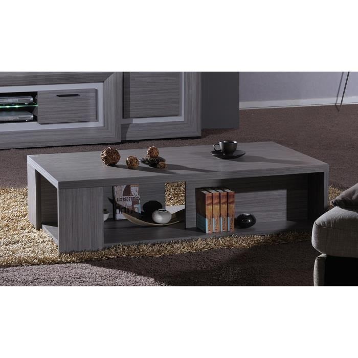 Lynea table basse bois gris et laque l140 cm aucune for Table basse en bois gris