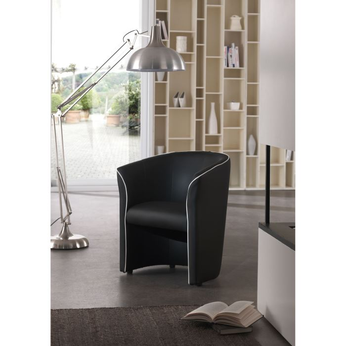 fauteuil cabriolet baya noir passepoil blanc aucune pickture. Black Bedroom Furniture Sets. Home Design Ideas