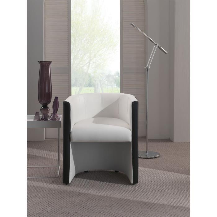Corfu fauteuil cabriolet en simili blanc et noir aucune pickture - Fauteuil cabriolet noir et blanc ...