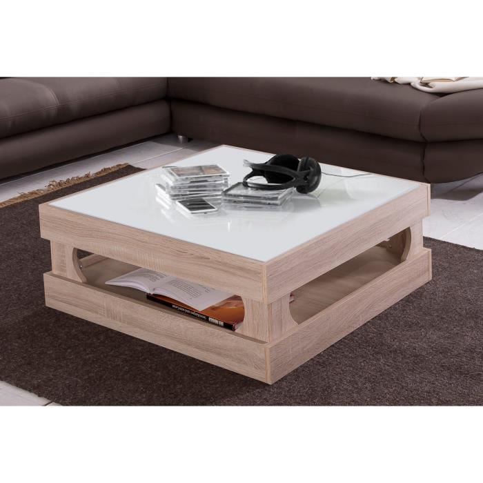 Cubus table basse carr e coloris blanc et chene aucune for Table basse blanc et chene