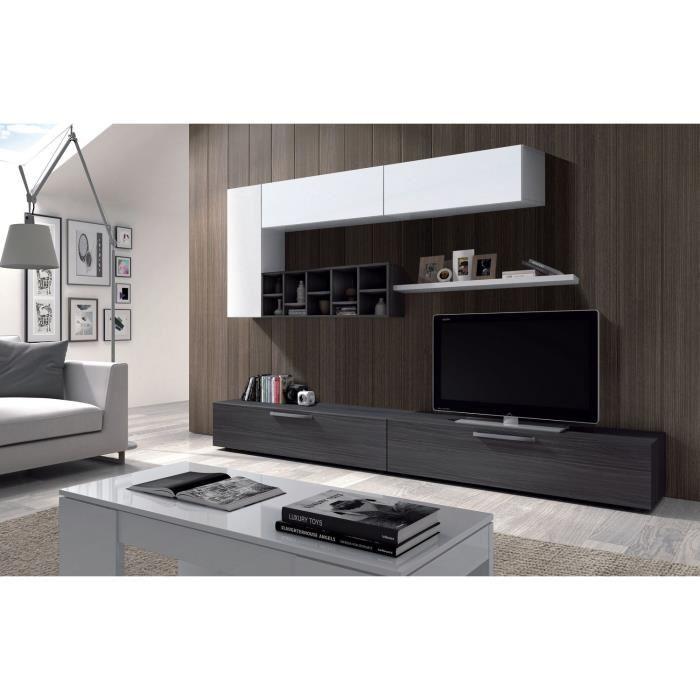 Deco s jour tv 260cm blanc brillant et gris aucune for Deco sejour original