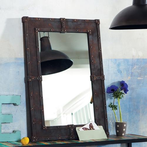 Miroir en bois effet m tal maisons du monde pickture for La maison du miroir