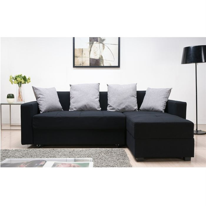 brixton canap convertible d 39 angle droit noir aucune pickture. Black Bedroom Furniture Sets. Home Design Ideas