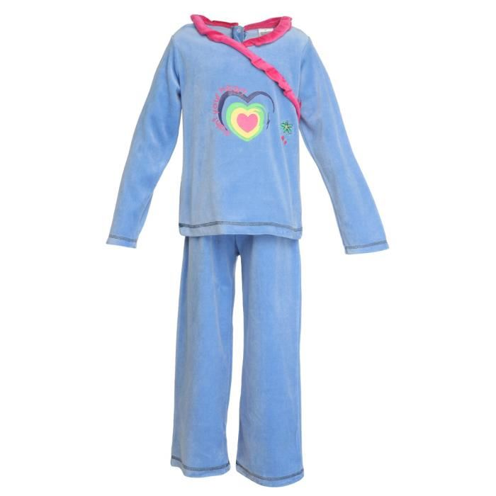 pyjama velours enfant fille paint your heart bleu aucune pickture. Black Bedroom Furniture Sets. Home Design Ideas