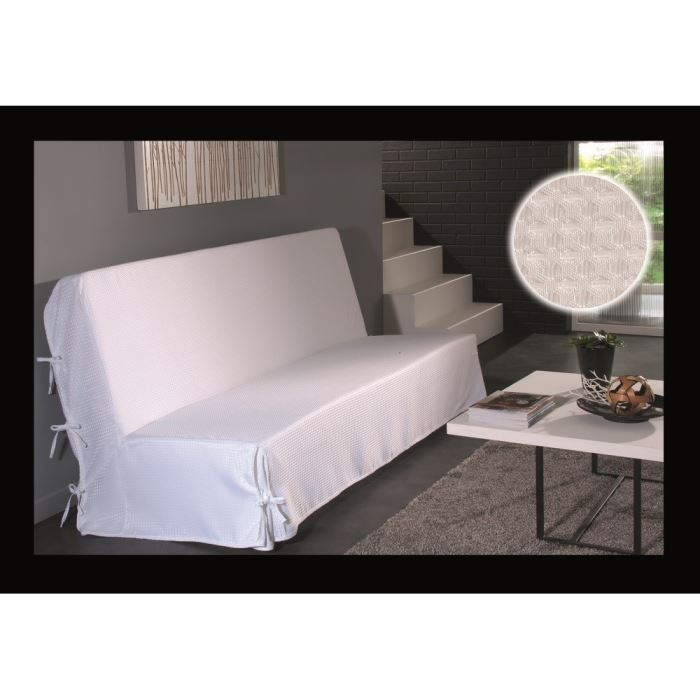housse de clic clac a nouettes blanc effet satin aucune pickture. Black Bedroom Furniture Sets. Home Design Ideas