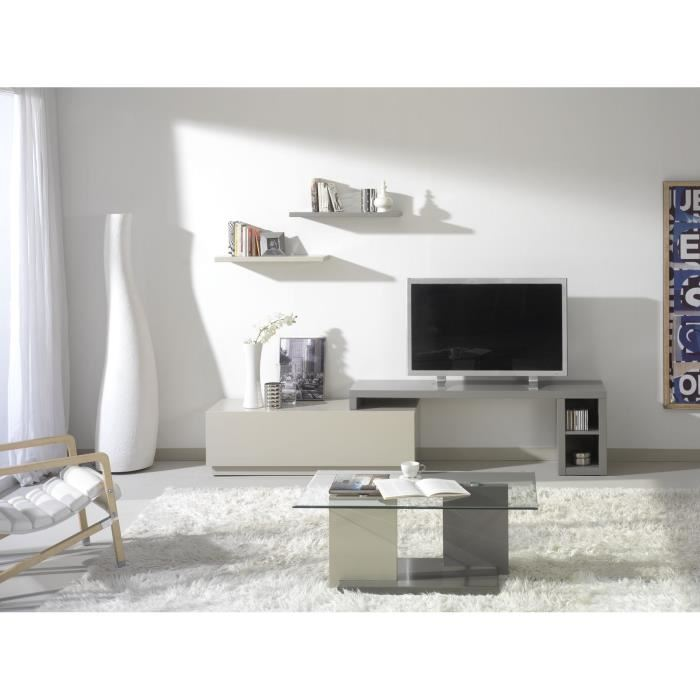 jadel meuble tv extensible gris et moka aucune pickture. Black Bedroom Furniture Sets. Home Design Ideas