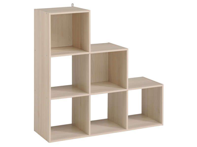 biblioth que 6 cases kubikub coloris acacia conforama pickture. Black Bedroom Furniture Sets. Home Design Ideas