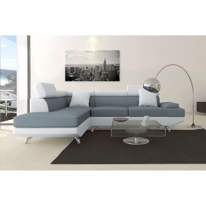 scoop canap d 39 angle gauche pu blanc et gris aucune pickture. Black Bedroom Furniture Sets. Home Design Ideas