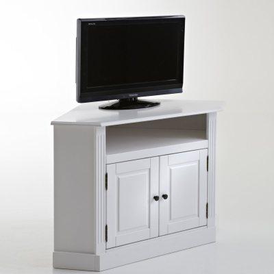 Meuble tv d 39 angle pin massif coloris blanc la redoute - Meuble d angle pin ...
