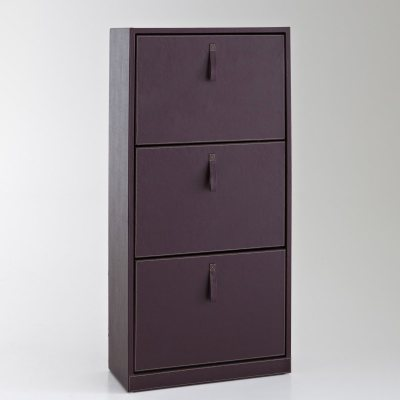 meuble range chaussures 3 abattants imit cuir la. Black Bedroom Furniture Sets. Home Design Ideas