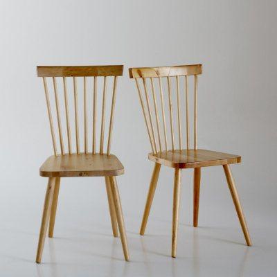 Chaise barreaux bouleau massif jimi lot de 2 la for Barreaux de chaise
