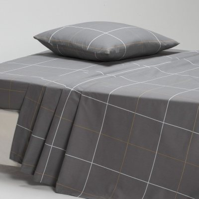 drap en percale karo gris la redoute pickture. Black Bedroom Furniture Sets. Home Design Ideas