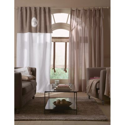 rideau brod monogramme pur lin barica la redoute pickture. Black Bedroom Furniture Sets. Home Design Ideas