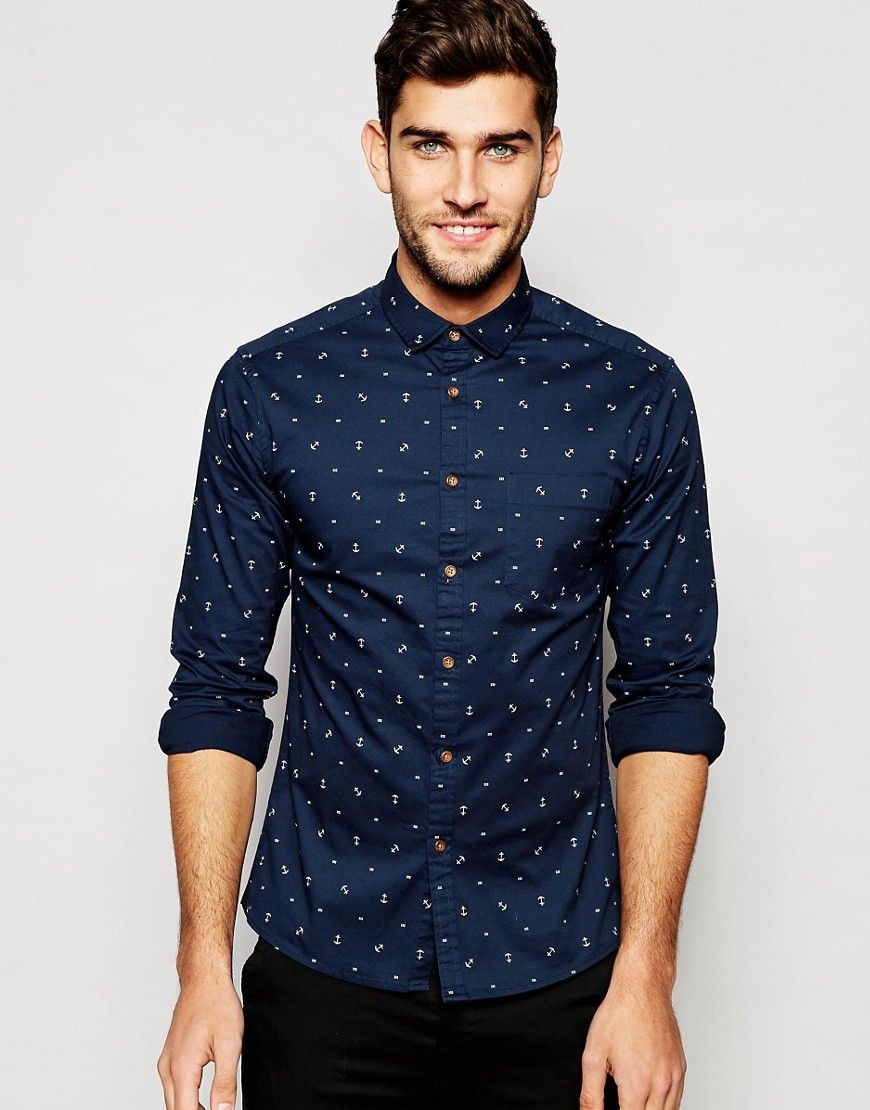 Asos skinny shirt with anchor print in long sleeve for Print long sleeve shirt