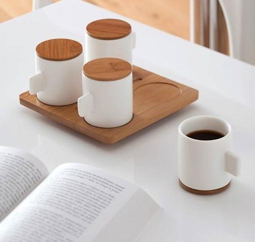 tasse th caf en porcelaine et bois lexon pickture. Black Bedroom Furniture Sets. Home Design Ideas