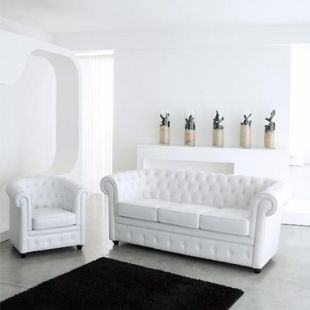 fauteuil aspect cuir blanc capitonn chesterfield. Black Bedroom Furniture Sets. Home Design Ideas