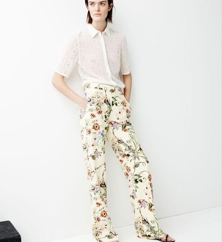 pantalon large imprim fleurs zara pickture. Black Bedroom Furniture Sets. Home Design Ideas